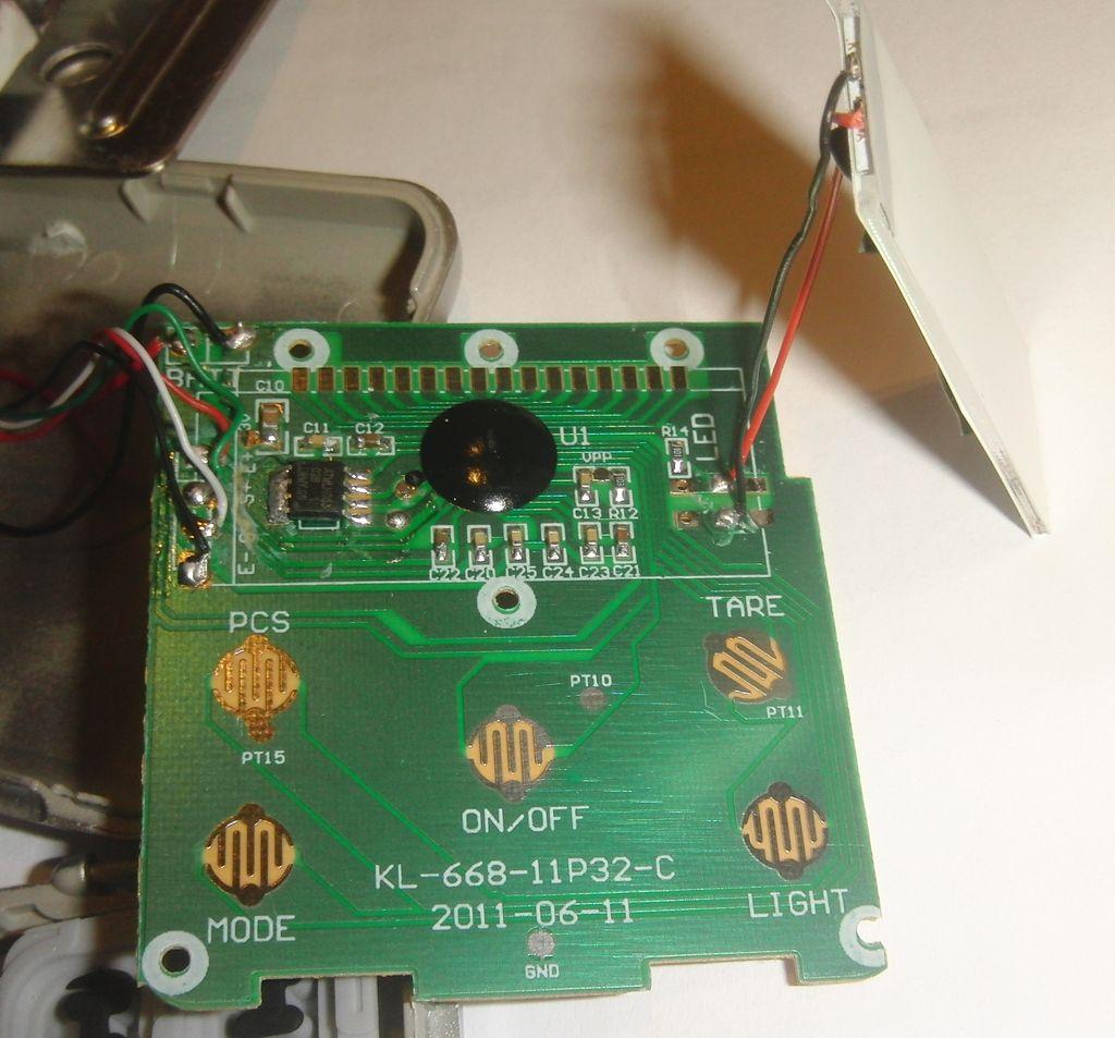 Электронные весы MH-200, плата со снятым индикатором
